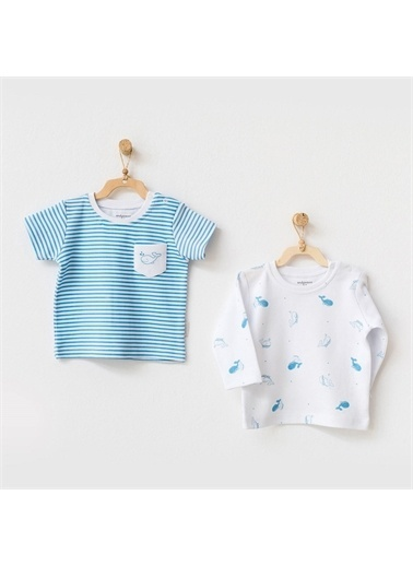 Andy Wawa Andywawa Cute Whale 2'Li Bebek T-Shirt Ac21561 Mavi